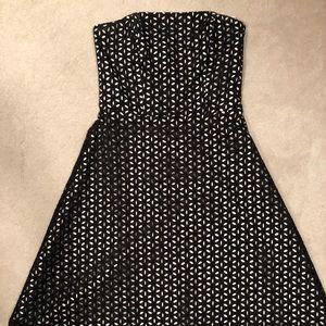 Black Strapless Eyelet Dress. Size 8